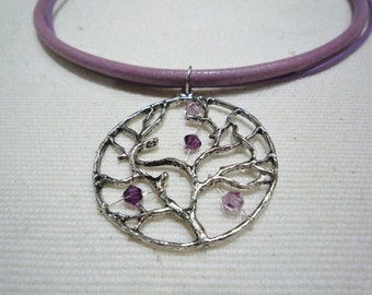 Double strand lilac leather 'tree of life' silver necklace