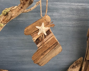 Driftwood Christmas Stocking Coastal Ornament