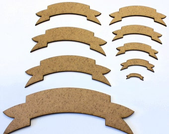 Ribbon Banner Craft Shapes, 2mm MDF Wooden Embellishments, Tags, Decorations