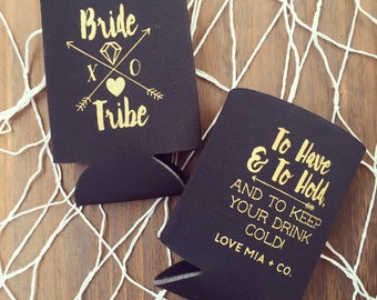 NEW! Bride Tribe Drink Coolers | Boho Bachelorette Party Drink Cooler Favors, Metallic Gold Arrow Bride Tribe Favors, Beer Bottle Can Cooler