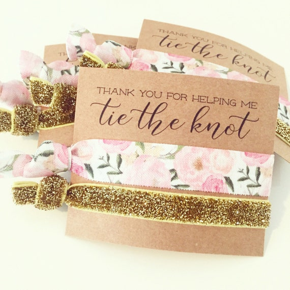 Hair Tie Bridesmaid Gift | Pink Floral  + Gold Glitter Hair Tie Favors, Light Pink Floral Hair Tie Bridal Shower Favors, Blush Roses Peonies