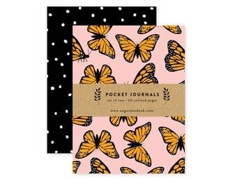 Pocket Journal Set, Mini Notebooks Set of 2, Monarch Butterfly Pattern