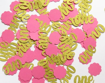 """1st Birthday Gold One & Pink Scallop Circle Confetti - 1"""" Inch Choose Your Color/Colors Party Shower Baby Age Decor Table Scatter Cards"""