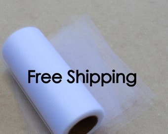 Shimmer tulle roll - 6 inches - 25 yards - Shimmer Tulle Spool White - White Shimmer tulle spool - roll of shimmer tulle White
