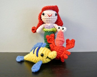 Little Crochet Mermaid Amigurumi Ariel Amigurumi - Handmade Crochet Amigurumi Doll - Princess - Mermaid Crochet - Amigurumi Mermaid