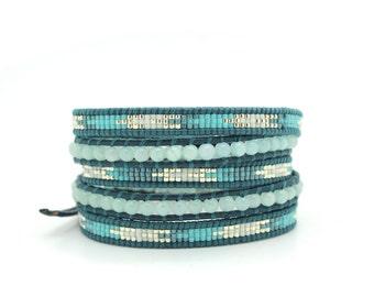 Turquoise Blue Mix Wrap Bracelet on Iris Blue Leather