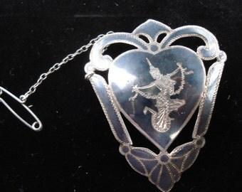 Vintage Siam Silver Niello brooch