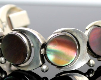 """Highly Collectible // Rare // 1950s Taxco Mexico Antonio Pineda // 970 Sterling Silver Abalone Modernist 7"""" Bracelet Guard Chain"""