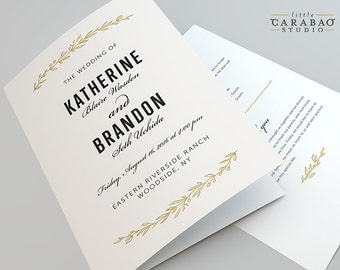 Wedding Program PRINTABLE Folded Wedding Program DIGITAL Flat Wedding Program - Little Carabao Studio - #BA105