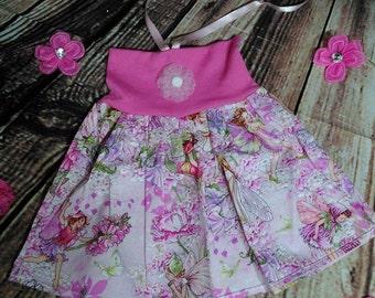 Girls Fairy Print Dress, Baby Fairy dress. Michael Miller Fairy Fabric Dress, Haulter Neck Dress, Pink Fairy Dress, Baby Girl Clothing