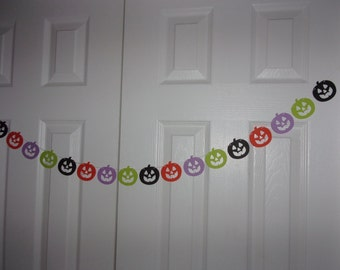 Jack-O-Lantern Garland - Black, Light Purple, Orange, Lime Green - Halloween Birthday Party Decoration - Hanging Wall/Door Decor Banner