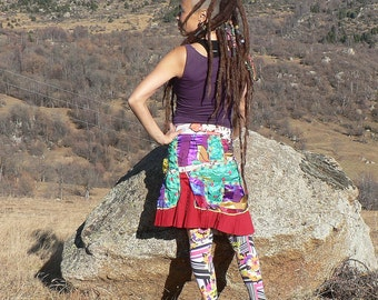 patchwork skirt of multicolored satin fabrics