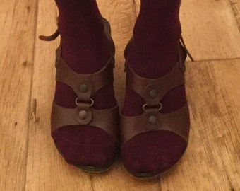 Gorgeous Vintage Brown Tan Tamaris Leather Wedge Sandals Shoes Size 36