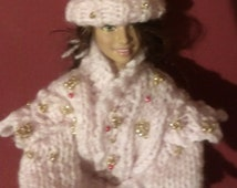 Hand Knitted Dolls Clothes  - Barbie Dolls  -  Beaded Outfit