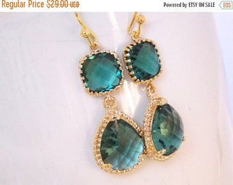 SALE Wedding Jewelry, Teal Earrings, Aqua Green, Green Earrings, Bridesmaid Jewelry, Bridesmaids Gifts, Wedding GiftsDangle,Bride Gifts,Gold