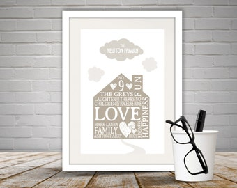 Personalised Family Home Print Unframed, Home, House, Personalised Print, Family, Clouds, Use Your Own Words, Our Home, Home Decor, Free P&P