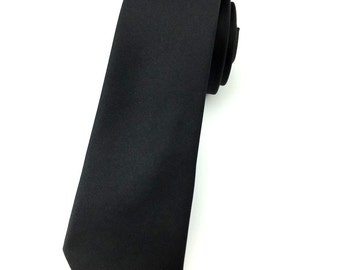 Solid Black 6.5cm skinny tie. Slim Tie.Narrow Thin Tie. Skinny Tie. Formal Necktie. Black tie. Skinny ties