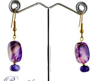 Pierced earrings-purple earrings-gemstone earrings-semiprecious earrings-gold plated-handcrafted-one-off-fire agate-lilac earrings
