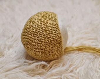 Wheat Newborn textured bonnet