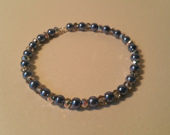 Blue and silver beaded bangle