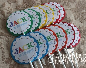 Art Party Rainbow Cupcake Toppers