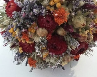 Rustic Harvest Autumn Autumnal Bridal Bouquet.  Dried Natural Bridal Wedding Flowers for Bride, Wild Hedgerow Floral Grasses Wheat Orange