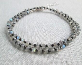 Delicate Labradorite Bracelet, Spinel Labradorite Gemstone Bracelet, Labradorite Wrap Bracelet, Black and Gray Gemstone Stacking Bracelet