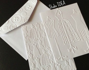 Dress Form Embossed Cards- 2 Styles - Set of 4 white A2 embossed cards or Choose Your Colors - EC008