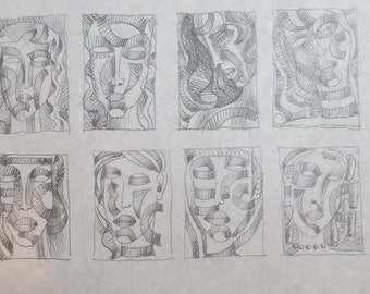 1980's Abstract Cubism Face Portraits Pencil Painting