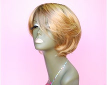 WiShe MO: 100% Remy Human Hair Cutom Made Wig_ Short HairStyes_Black Root with Honey Blonde Color