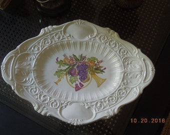 Embossed edge Platter made in Italy, Hand painted with Christmas French horn with tassels, fruit and greenery