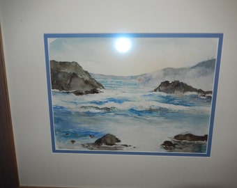 ORIGINAL SEASCAPE WATERCOLOR Painting by Coogan
