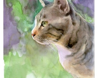 Custom Cat Portrait Original Watercolor Painting, Pet Portrait Painting, Cat Painting Custom