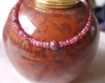 """Ruby, July's Birthstone,  7.5"""" to 8.5"""" Bracelet with Central Ruby Feature Bead and Sterling Silver Findings"""