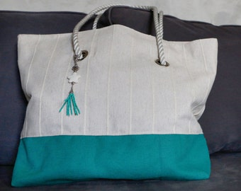 Bright Green and Canvas Tote Bag