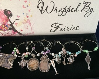 Alice in Wonderland Themed Wine Glass Charms