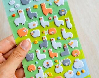 Alpaca Kawaii Puffy Stickers Planner