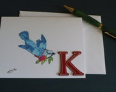 Personalized Note Card Stationery, Letter K Monogram Greeting Card, Bird Note Card, Blank Card, Original Artwork
