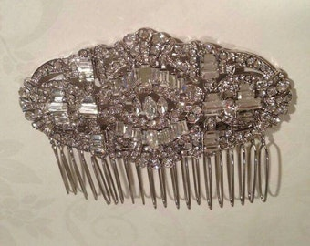 Gatsby wedding comb, wedding comb, crystal hair comb, Art Deco hair slide, 1920s wedding hair, bride comb, bride hair accessory