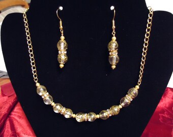 Gold Swirls and Crystals Necklace and Earrings Set