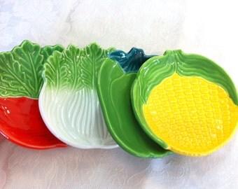 "4 Vegetable Relish Serving Dip Small Plates: Radish, Green Pepper, Corn, White Celery (6x5.5"")"