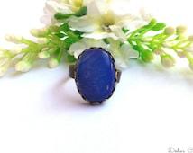 Ring bronze cabochon, stone Opal, 17x12x5 mm jewelry of designer handmade @Dodie's  Crea