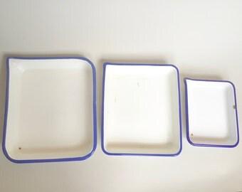 Vintage Enamelware Trays Set of 3
