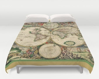 Duvet cover world map etsy ie old world map duvet cover doublefull queen king cover blanket bedding bed gumiabroncs Image collections