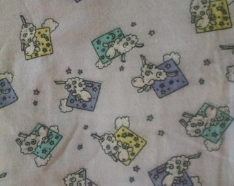 Purple sheep flannel fabric by the yard