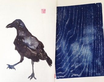 Crow, Raven ink drawing, ink art, ink painting