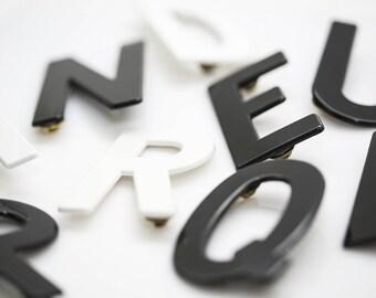 Alphabet Letter Pins In Black & White
