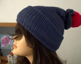Handmade Hand Knitted Denim Knit Winter Bobble Hat, Beanie, Pom Pom