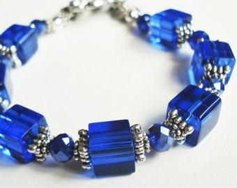 Sapphire Blue Bracelet, Blue Wedding Jewelry, Cobalt Bridesmaid Bracelet, Blue Victorian Jewelry, Silver Cobalt Blue Bracelet Gift For Her