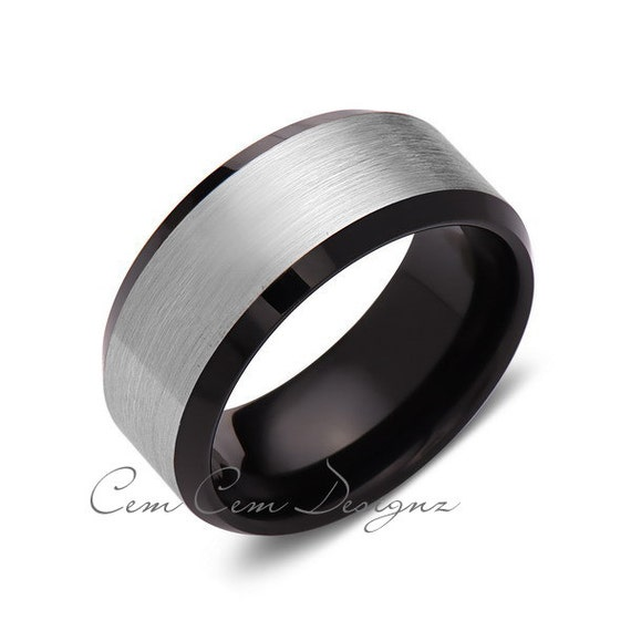 10MMGun Metal Brushed GreyBlack Tungsten Wedding by CemCemDesignz